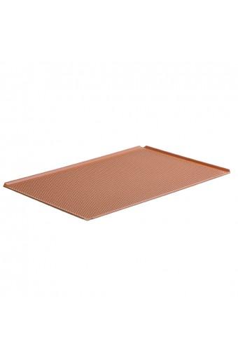 Teglia in alluminio non rivestita, 600x400 mm - 4 bordi 45°, silicone, perforata