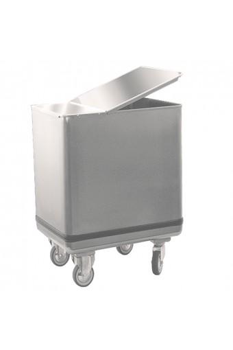 Tramoggia per farina con coperchio in inox, 195 litri