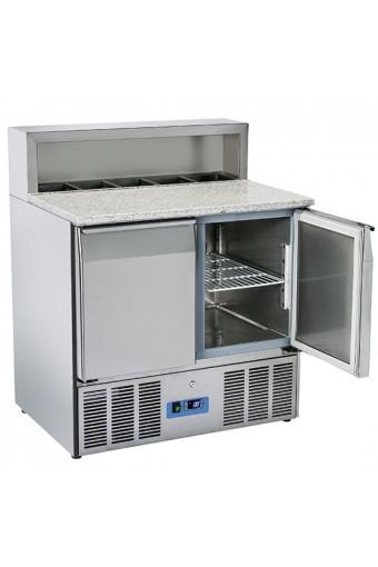 Banco preparazione refrigerato due porte gn 1/1 caacità .5 gn 1/6 per ingredienti