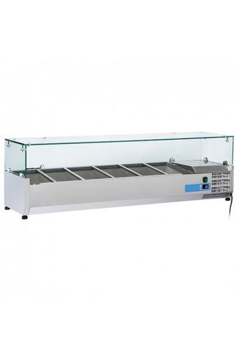 Vetrina portabacinelle refrigerata per bacinelle L. 1500 mm - 5x GN1/3 + 1x 1/2