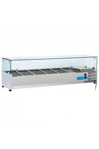 Vetrina portabacinelle refrigerata per bacinelle L. 14000 mm - Cap. 6x GN1/4