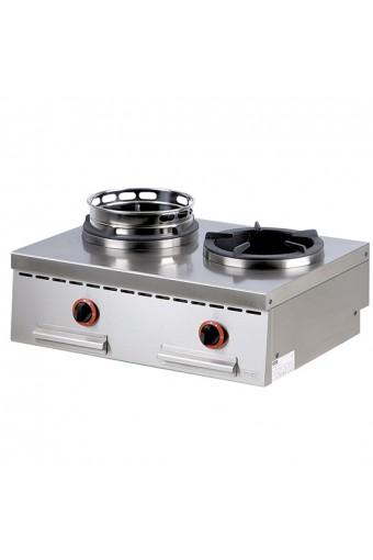 Piano di cottura wok a gas da banco, 2fuochi