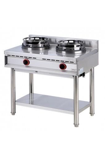 Cucina cinese wok a gas su base 2 fuochi da 13 kw per bruciatore