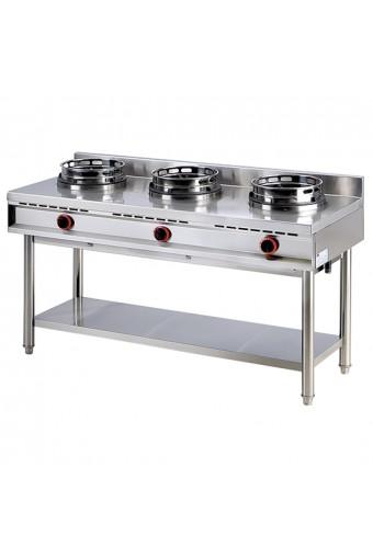 Cucina cinese wok a gas su base 3 fuochi da 13 kw per bruciatore