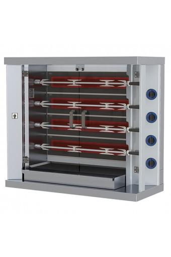 Girarrosto elettrico professionale verticali ad asta con illuminazione interna,4 spiedi x 20 polli