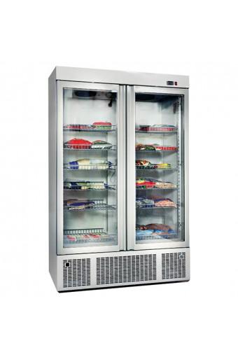 Congelatore da 1300 litri con 2 portas a vetro e 12 ripiani, -2°/-18°C