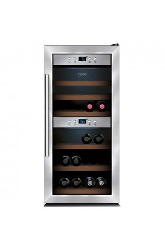 Espositore refrigerato per vini ventilato 2 vani capacità 24 bottiglie 0,7 lt. temp. +5 °c/+22 °c