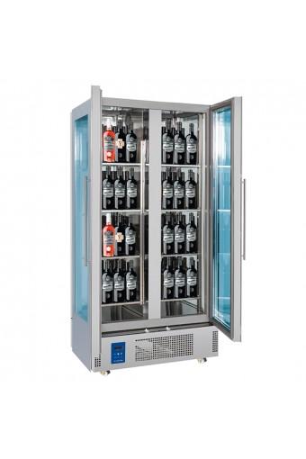 Espositore refrigerato per vini a isola per 128 bottiglie con 2 porte, +4°/+14°C