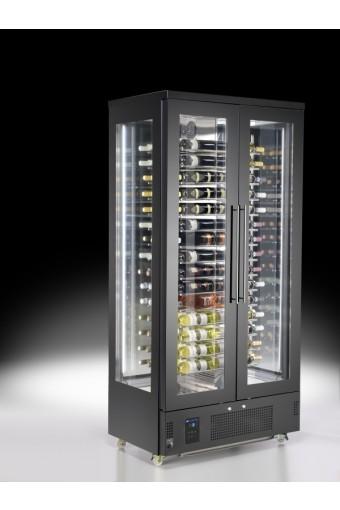 Espositore refrigerato per vini a isola per 112 bottiglie con 4 porte, +4°/+14°C
