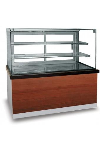 Espositore refrigerato ventilato con 2 ripiani e vetro retto, +0°/+8°C