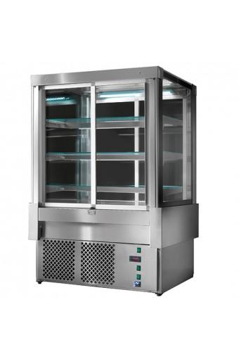 Espositore refrigerato ventilato con 4 porte e 3 ripiani, +3°/+5°C, l=900 mm - RAL9005
