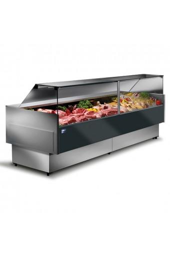 Banco carne refrigerato ventilato da 2000 mm con vetro retto, 0°/+4°C