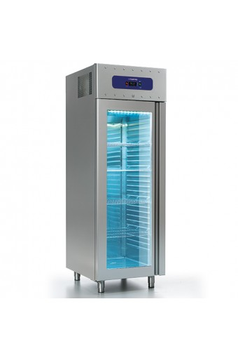 Freezer da 700 litri in inox con porta in vetro , GN 2/1, -10°/-22°C, 85 mm insolamento