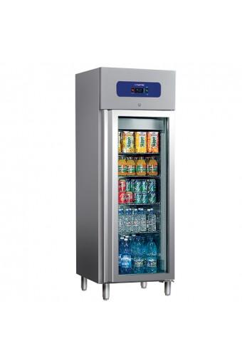 Armadio congelatore 400 lt. porta in vetro, interno/esterno inox temperatura -10°c/-18°c