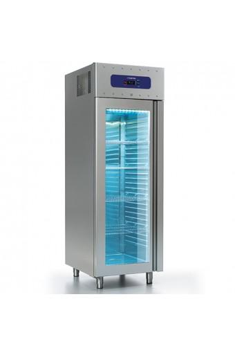 Frigorifero da 700 litri in inox con porta in vetro, GN 2/1, -2°/+8°C, 85 mm isolamento