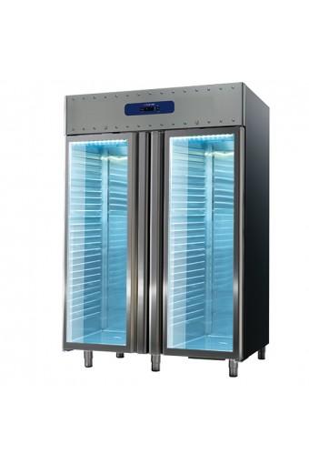 Frigorifero da 1400 litri in inox con porte in vetro, GN 2/1, -2°/+8°C, 85 mm isolamento