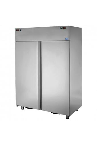 Armadio frigorifero 2 vani 600+600lt ventilato inox 2 temp., positiva/negativa 0°c/+10°c -18°c/-22°c