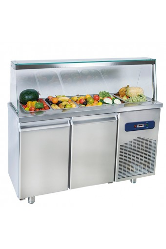 Banco refrigerato con 2 porte e con struttura vetro con vasca capacità 4x GN1/1 h 100 mm