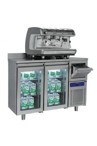 Tavolo refrigerato a 2 porte in vetro GN1/1 con tramoggia battifondi e alzatina, -2°/+8°C