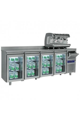 Tavolo refrigerato a 4 porte in vetro GN 1/1 con tramoggia battifondi e alzatina, -2°/+8°C