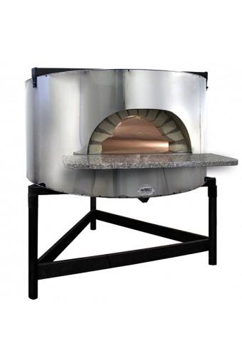 Forno pizza a legna con facciata in acciao inox, platea ø 110 cm, capacità 4/5 pizze