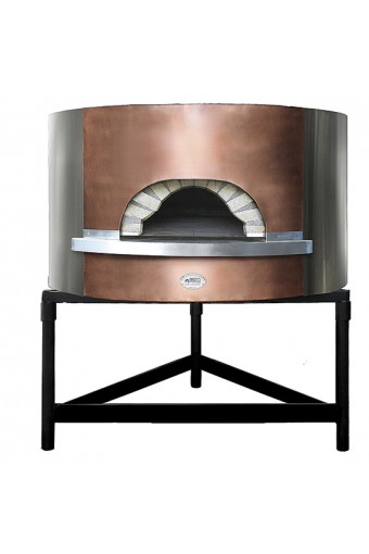 Forno pizza a legna coibentato, facciata in rame/acciao inox, platea ø 154 cm, capacità 10/12 pizze