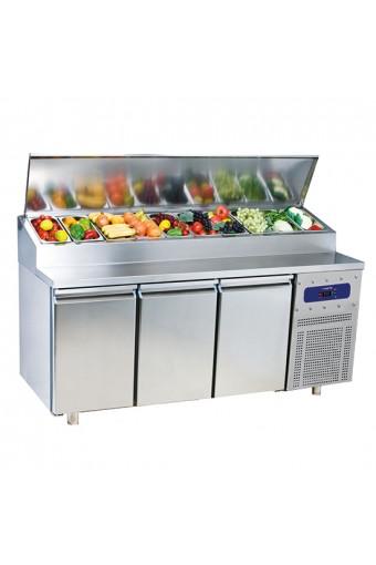 Tavolo preparazione refrigerato a 3 porte gn 1/1, capacità 10 X GN 1/3 max. 150mm, -2°/+8°C