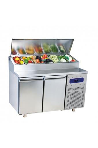 Tavolo preparazione refrigerato a 2 porte gn 1/1, capacità 7 X GN 1/3 max. 150mm - ESPOSIZ. FIERA