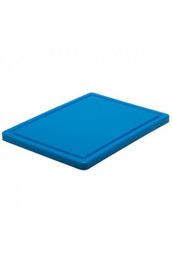 Tagliere in blu per pesce con canalina, 500x300 mm