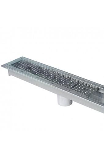 Vasche con grigliati pavimento con scarico centrale, larghezza vasca=500