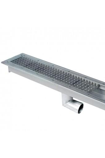 Vasche con grigliati pavimento scarico laterale, larghezza vasca=500 mm