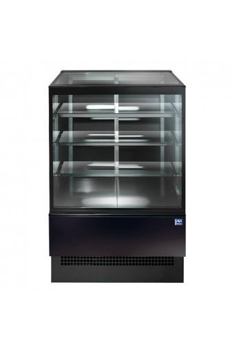 Espositore caldo ventilato con 3 ripiani e vetro retto, l=900 mm