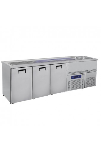 Banco Bar con 2 vasche Lavabo a destra base refrigerata con 3 sportelli