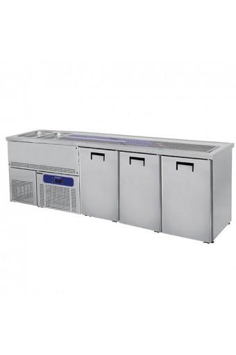 Banco Bar con 2 vasche Lavabo a sinistra base refrigerata con 3 sportelli