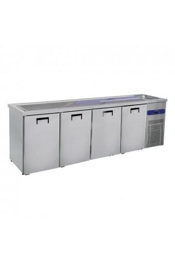 Banco Bar con 1 vasca Lavabo a sinistra base refrigerata con 4 sportelli