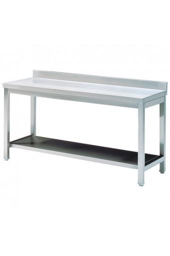 Tavolo da lavoro con ripiano intermedio e alzatina, 1000x700 mm.