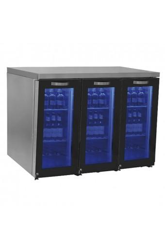 Vetrina refrigerata sottobanco sinistra a 3 porte in vetro battenti, 90+90+90 bottiglie, 0/+8 °C.
