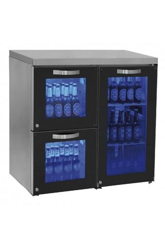 Vetrina refrigerata sottobanco destra a 1 porta battente e 2 cassetti in vetro, 0/+8 °C.