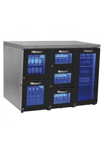 Vetrina refrigerata sottobanco destra a 1 porta battente e 5 cassetti in vetro, 0/+8 °C.