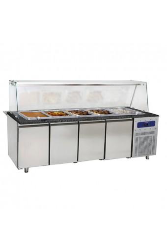 Banco di preparazione riscaldato con struttura in vetro, 6x GN 1/1 h=100 mm