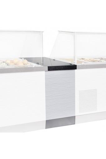 Banco da servizio con armadio aperto con piano di lavoro in granito larghezza 460 mm
