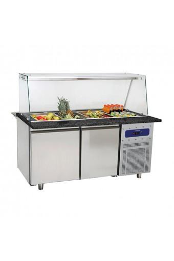 Banco refrigerato con 2 porte e con vasca capacità 4x GN1/1 h 100 mm Coperchio in acciaio inox