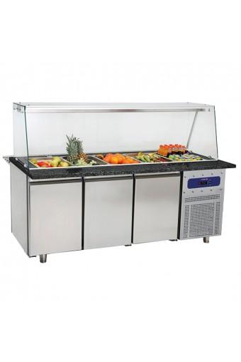 Banco di preparazione refrigerato con struttura in vetro e vasca refrigerata 5x GN 1/1 h=100 mm