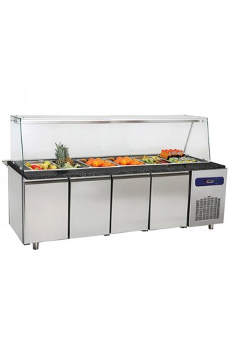 Banco di preparazione refrigerato con struttura in vetro, e vasca refrigerata 6x GN 1/1 h=100 mm