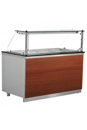 Banco di preparazione refrigerato a 3 porte con vetro retto, 5x GN 1/1, 0°/+10°C