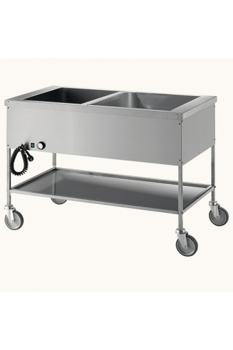 Carrello bagnomaria con ripiano inferiore, 2 vasche GN 1/1 h=200 mm, 2 temperature