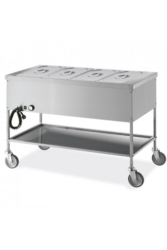 Carrello bagnomaria con ripiano inferiore, 4 vasche GN 1/1 h=200 mm, 4 temperature
