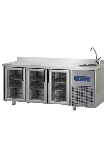 Tavolo refrigerato da 700 mm a 3 porte in vetro con vasca 35x40x20h mm a destra e alzatina, -2°/+8°C