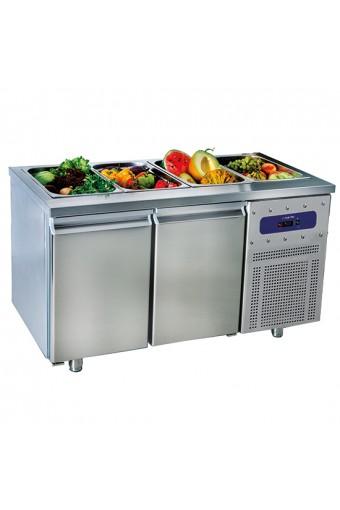 Tavolo refrigerato per preparazione 2 porte GN1/1, 281 lt. - capacità 3x GN1/1