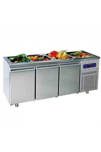 Tavolo refrigerato per preparazione 3 porte GN1/1, 474 lt. - capacità 5x GN1/1